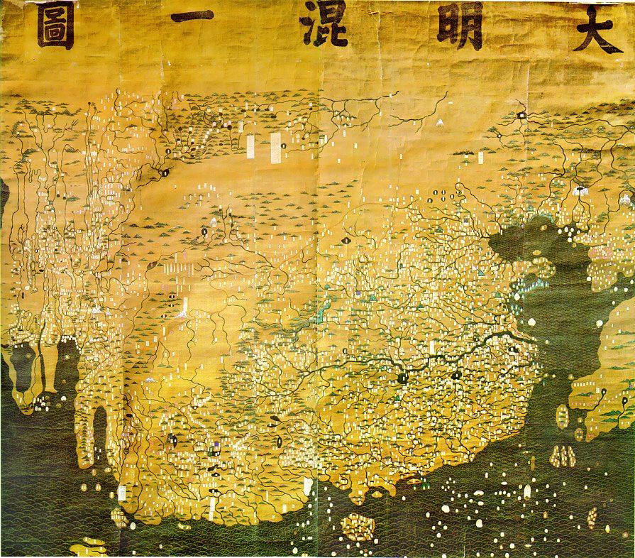 14. yüzyılın sonlarında yapılan Çin haritası Da Ming Hu Yi Tu.