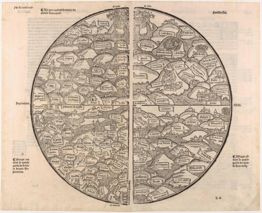 1491'de çizilen Mer des Hystoires dünya haritası.