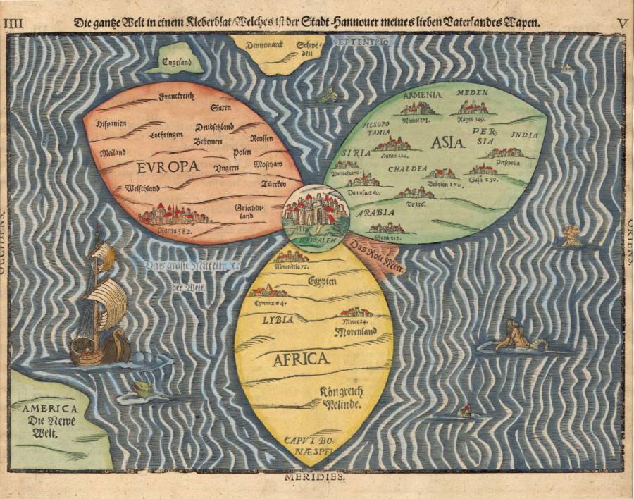 Daha sonraki bir Hıristiyan haritası, 1581'de Almanya'da Heinrich Bunting tarafından çizilen Yonca Yaprak Haritası.