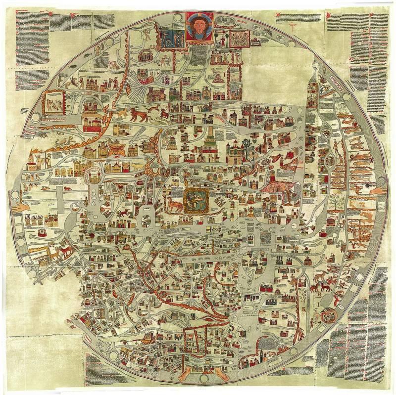 Ebstorf'un dünya haritası, 13. yüzyılda Almanya'da çizilmiş.