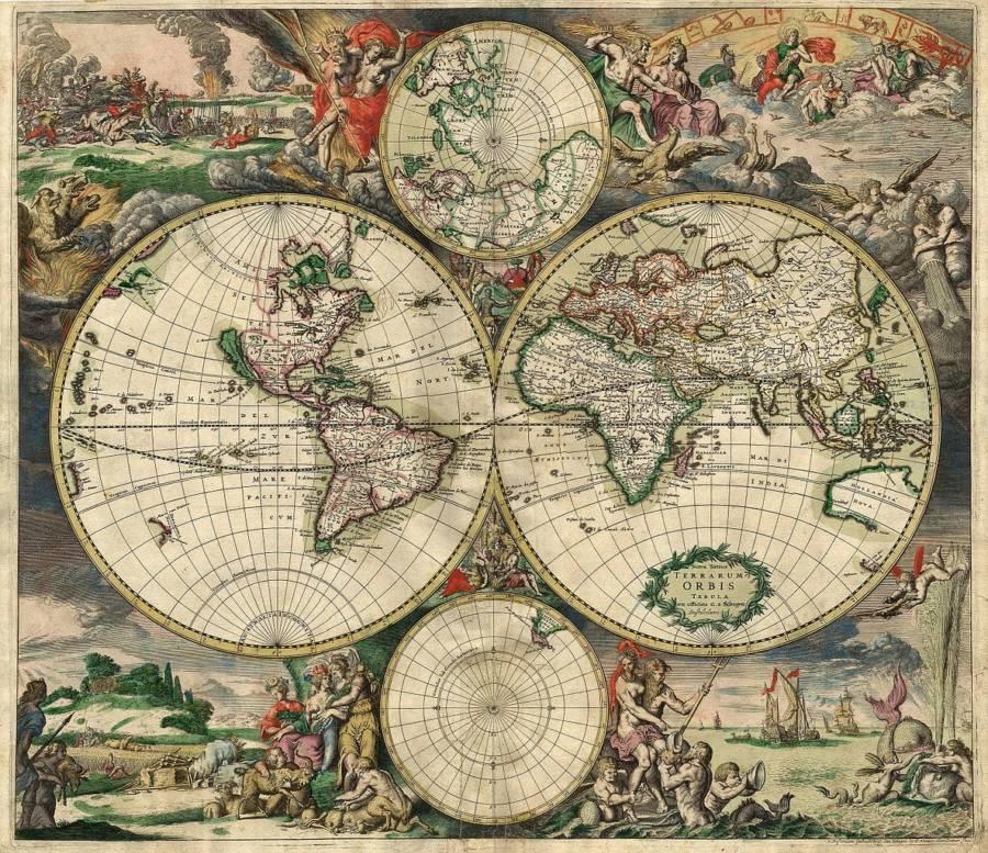 Gerard van Schagen'in 1689 yılında çizdiği dünya haritası.