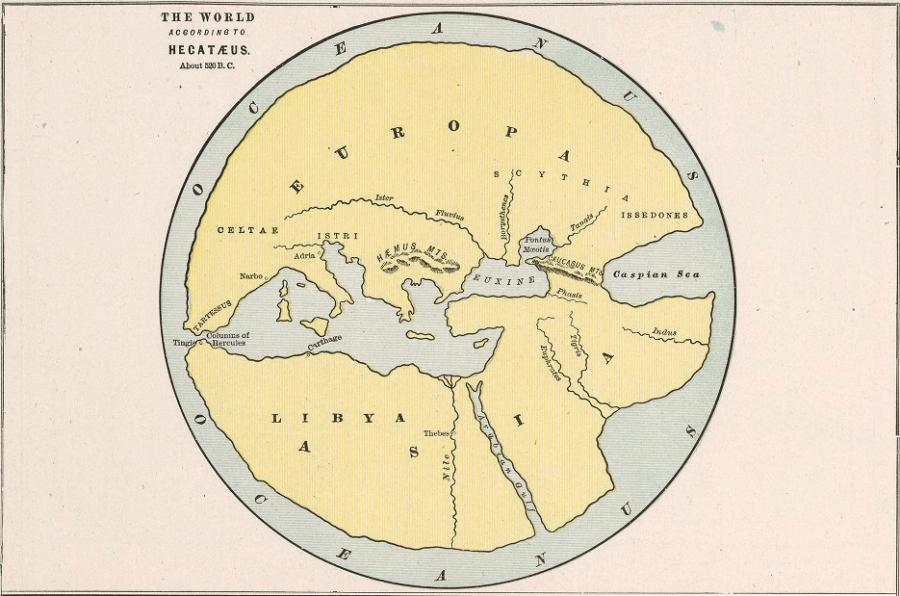 Hekataeus of Miletus'un M.Ö. 5. ya da 6. yüzyılda yapılan dünyanın haritası.