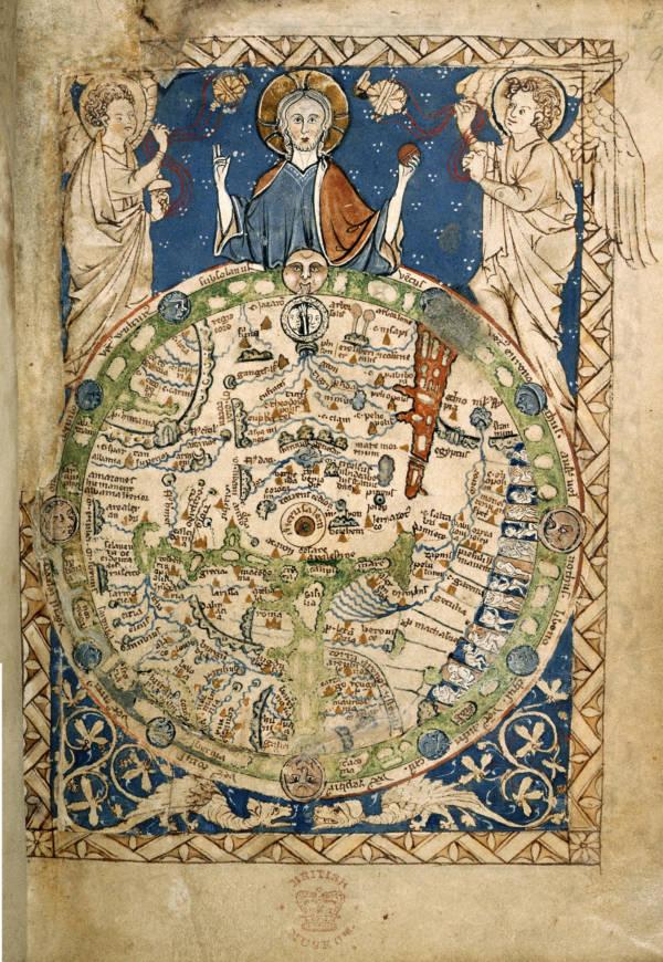 MS 1260'da bilinmeyen bir ortaçağ rahibinin çizdiği Dünya Haritası.