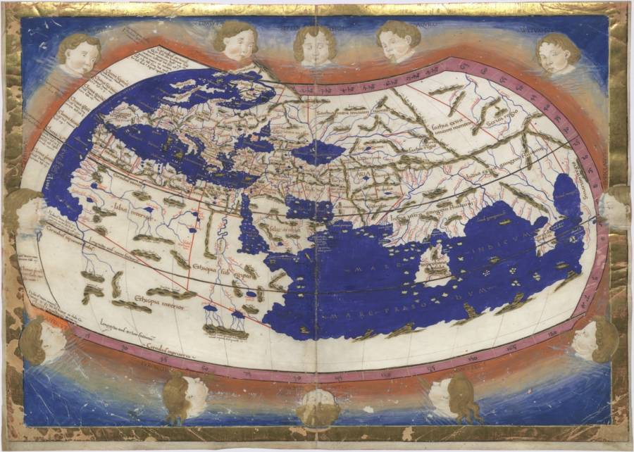MS 150 yılında hayal edilen Ptolemy'nin dünya haritası.