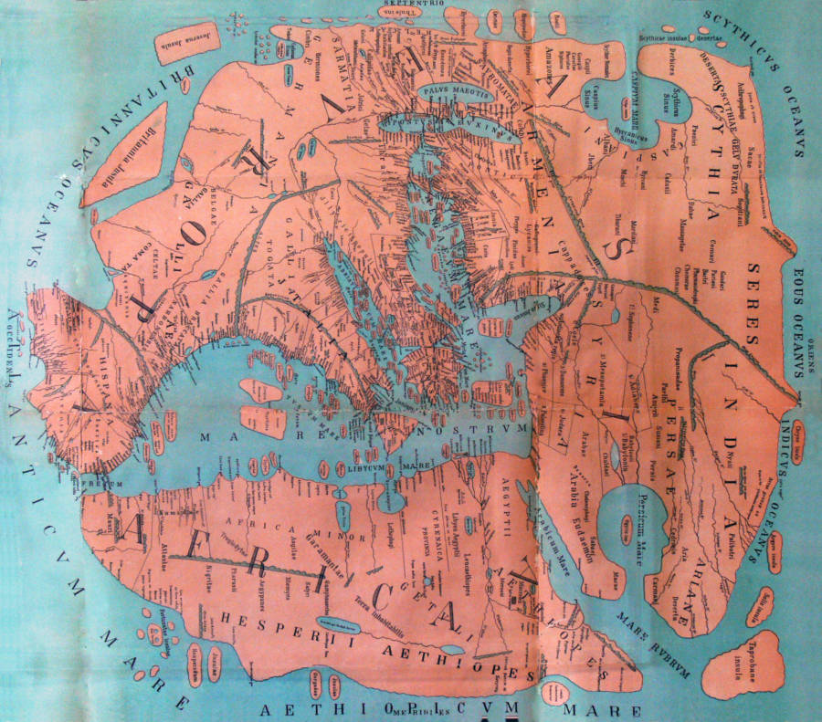 MS 43'te çizilen Pomponius'un dünya haritası.