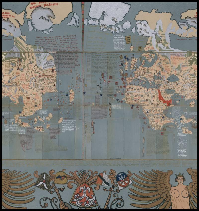 Martin Behaim'in 1492'de Almanya'da ürettiği Edapfel küresi çizimi