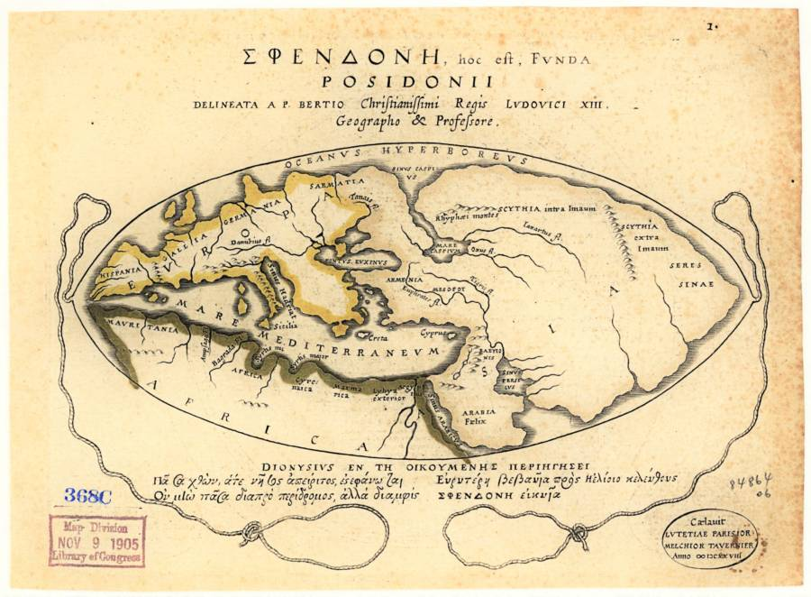 Posidonius'un dünya haritası, M.Ö. 2. yüzyılda çizilmiştir.