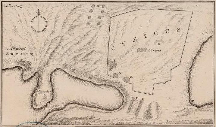 1743-1745 yıllarında çizilmiş Kyzikos Vaziyet Planı, tarafından Pococke, Richard (1704-1765)