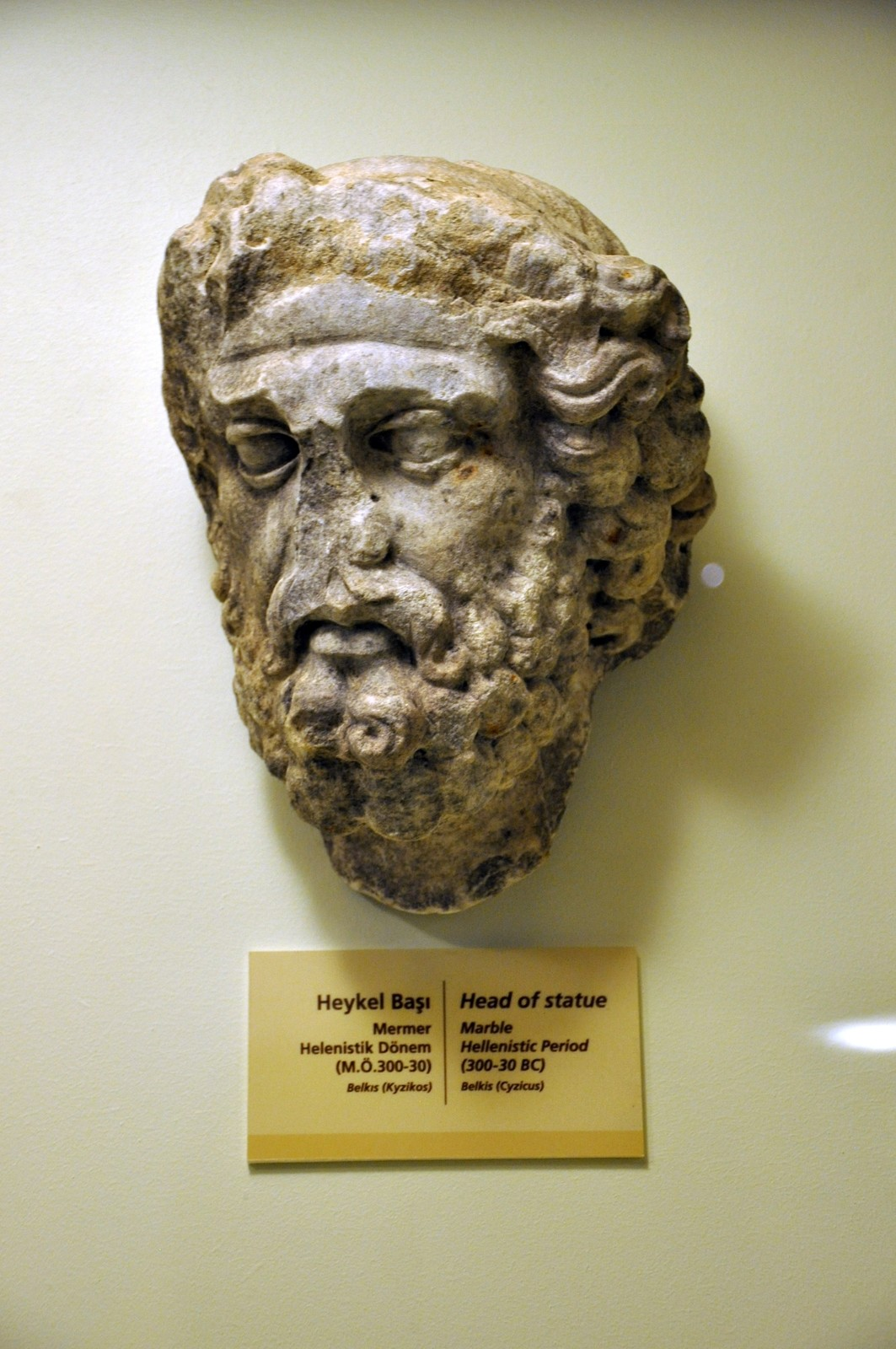 Kyzikos(Cyzicus) heykelinin başı, M.Ö. 300 - 30, Bandırma Müzesi