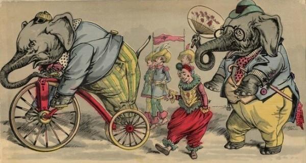 Sirklerde çalıştırılan fillerle ilgili bir çizim