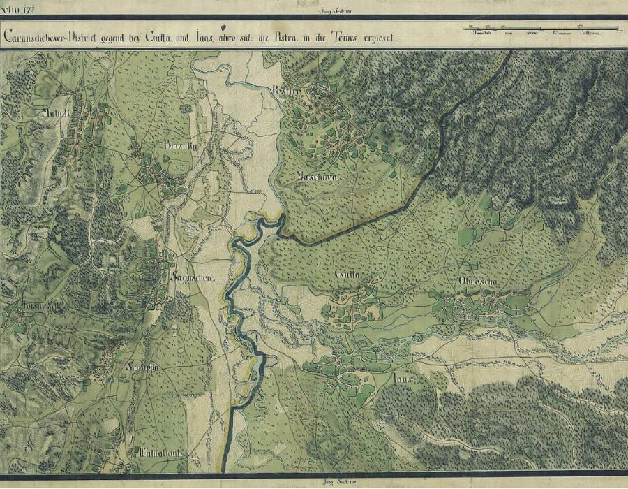 Hapsburg İmparatorluğu ile Osmanlı İmparatorluğu arasında ihtilafa sebep olan bölgenin haritası. Ortada Tuna Nehri, Şebeş Muharebesi
